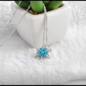 Blue Crystal Frozen Snowflake Necklace